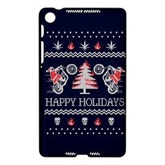 Motorcycle Santa Happy Holidays Ugly Christmas Blue Background Nexus 7 (2013)