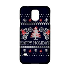 Motorcycle Santa Happy Holidays Ugly Christmas Blue Background Samsung Galaxy S5 Hardshell Case