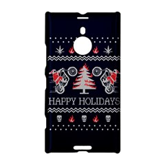 Motorcycle Santa Happy Holidays Ugly Christmas Blue Background Nokia Lumia 1520