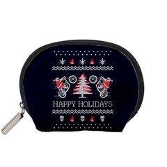 Motorcycle Santa Happy Holidays Ugly Christmas Blue Background Accessory Pouches (small)