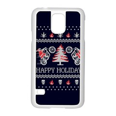 Motorcycle Santa Happy Holidays Ugly Christmas Blue Background Samsung Galaxy S5 Case (White)