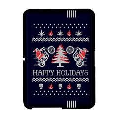 Motorcycle Santa Happy Holidays Ugly Christmas Blue Background Amazon Kindle Fire (2012) Hardshell Case