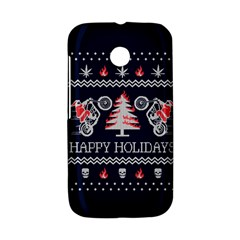 Motorcycle Santa Happy Holidays Ugly Christmas Blue Background Motorola Moto E