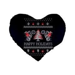 Motorcycle Santa Happy Holidays Ugly Christmas Blue Background Standard 16  Premium Flano Heart Shape Cushions