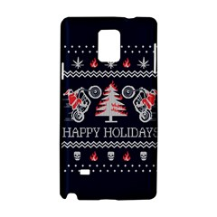 Motorcycle Santa Happy Holidays Ugly Christmas Blue Background Samsung Galaxy Note 4 Hardshell Case