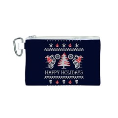 Motorcycle Santa Happy Holidays Ugly Christmas Blue Background Canvas Cosmetic Bag (s)