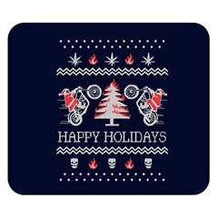Motorcycle Santa Happy Holidays Ugly Christmas Blue Background Double Sided Flano Blanket (Small)