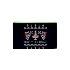 Motorcycle Santa Happy Holidays Ugly Christmas Blue Background Cosmetic Bag (XS)