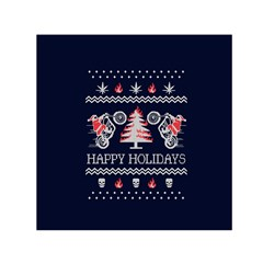 Motorcycle Santa Happy Holidays Ugly Christmas Blue Background Small Satin Scarf (Square)