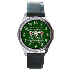 Motorcycle Santa Happy Holidays Ugly Christmas Green Background Round Metal Watch