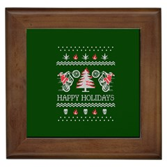 Motorcycle Santa Happy Holidays Ugly Christmas Green Background Framed Tiles