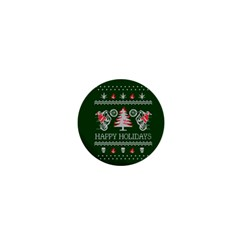 Motorcycle Santa Happy Holidays Ugly Christmas Green Background 1  Mini Magnets