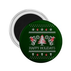 Motorcycle Santa Happy Holidays Ugly Christmas Green Background 2.25  Magnets