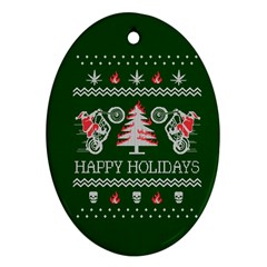 Motorcycle Santa Happy Holidays Ugly Christmas Green Background Ornament (Oval)