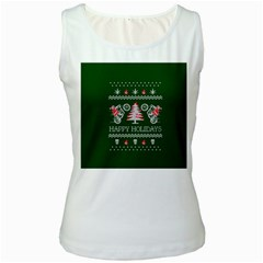 Motorcycle Santa Happy Holidays Ugly Christmas Green Background Women s White Tank Top