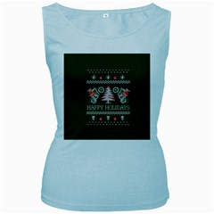 Motorcycle Santa Happy Holidays Ugly Christmas Green Background Women s Baby Blue Tank Top