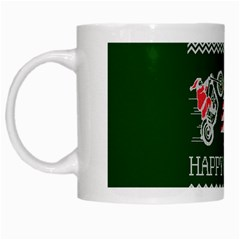 Motorcycle Santa Happy Holidays Ugly Christmas Green Background White Mugs
