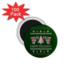 Motorcycle Santa Happy Holidays Ugly Christmas Green Background 1.75  Magnets (100 pack)