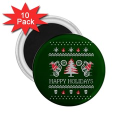 Motorcycle Santa Happy Holidays Ugly Christmas Green Background 2.25  Magnets (10 pack)