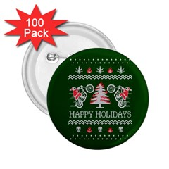 Motorcycle Santa Happy Holidays Ugly Christmas Green Background 2 25  Buttons (100 Pack)