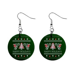 Motorcycle Santa Happy Holidays Ugly Christmas Green Background Mini Button Earrings