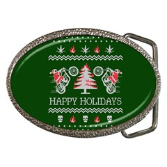 Motorcycle Santa Happy Holidays Ugly Christmas Green Background Belt Buckles