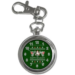 Motorcycle Santa Happy Holidays Ugly Christmas Green Background Key Chain Watches