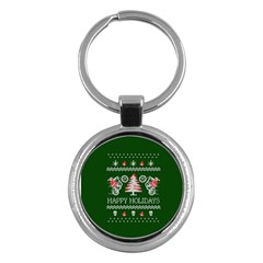 Motorcycle Santa Happy Holidays Ugly Christmas Green Background Key Chains (round)