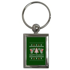 Motorcycle Santa Happy Holidays Ugly Christmas Green Background Key Chains (Rectangle)