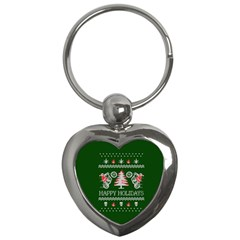 Motorcycle Santa Happy Holidays Ugly Christmas Green Background Key Chains (heart)