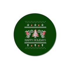 Motorcycle Santa Happy Holidays Ugly Christmas Green Background Magnet 3  (round)