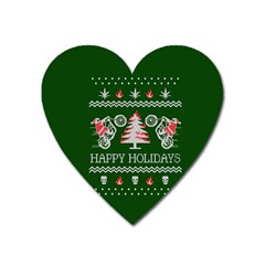 Motorcycle Santa Happy Holidays Ugly Christmas Green Background Heart Magnet