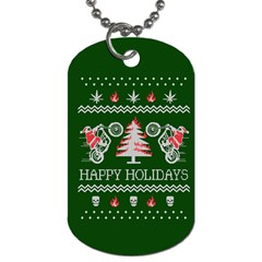 Motorcycle Santa Happy Holidays Ugly Christmas Green Background Dog Tag (Two Sides)
