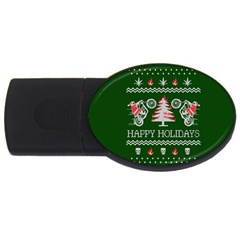Motorcycle Santa Happy Holidays Ugly Christmas Green Background USB Flash Drive Oval (1 GB)
