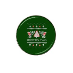 Motorcycle Santa Happy Holidays Ugly Christmas Green Background Hat Clip Ball Marker (4 pack)