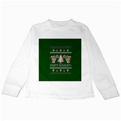 Motorcycle Santa Happy Holidays Ugly Christmas Green Background Kids Long Sleeve T Shirts