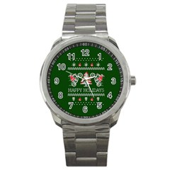 Motorcycle Santa Happy Holidays Ugly Christmas Green Background Sport Metal Watch