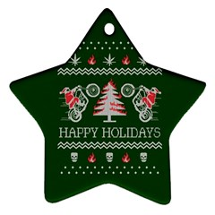 Motorcycle Santa Happy Holidays Ugly Christmas Green Background Star Ornament (Two Sides)