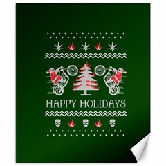 Motorcycle Santa Happy Holidays Ugly Christmas Green Background Canvas 8  X 10