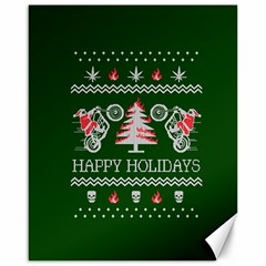 Motorcycle Santa Happy Holidays Ugly Christmas Green Background Canvas 16  x 20
