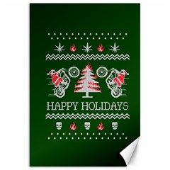 Motorcycle Santa Happy Holidays Ugly Christmas Green Background Canvas 20  x 30