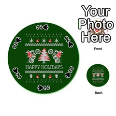 Motorcycle Santa Happy Holidays Ugly Christmas Green Background Playing Cards 54 (Round)