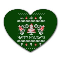 Motorcycle Santa Happy Holidays Ugly Christmas Green Background Heart Mousepads