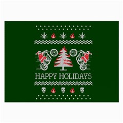 Motorcycle Santa Happy Holidays Ugly Christmas Green Background Large Glasses Cloth (2-Side)