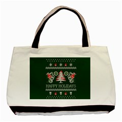 Motorcycle Santa Happy Holidays Ugly Christmas Green Background Basic Tote Bag (two Sides)