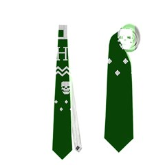 Motorcycle Santa Happy Holidays Ugly Christmas Green Background Neckties (two Side)