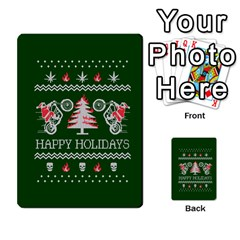 Motorcycle Santa Happy Holidays Ugly Christmas Green Background Multi Purpose Cards (rectangle)