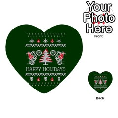 Motorcycle Santa Happy Holidays Ugly Christmas Green Background Multi-purpose Cards (Heart)
