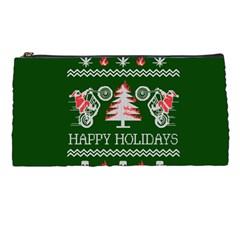 Motorcycle Santa Happy Holidays Ugly Christmas Green Background Pencil Cases