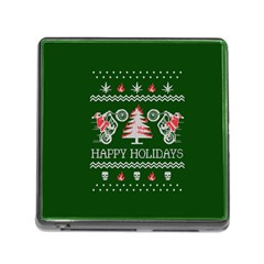 Motorcycle Santa Happy Holidays Ugly Christmas Green Background Memory Card Reader (square)